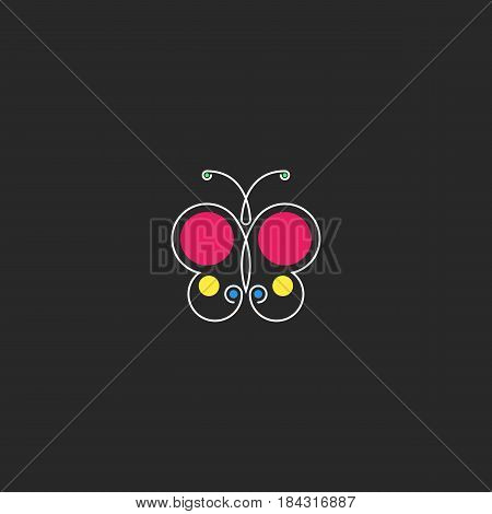 Butterfly logo hipster minimal style monogram silhouette abstract beautiful insect with colored circle geometric shape idea t-shirt print or sticker design element template