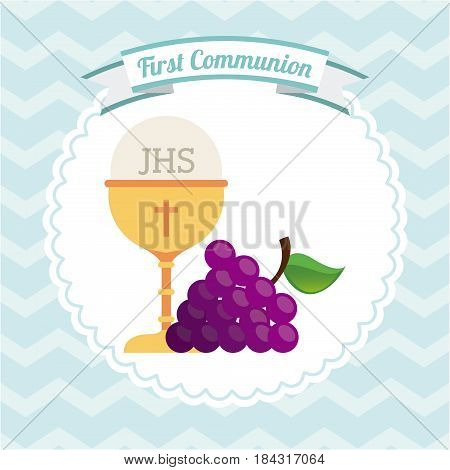 first communion design with holy bread and wine