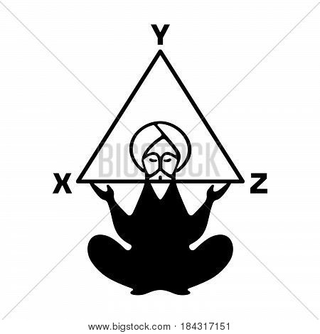 Ancient thinker, symbol of mathematics on white