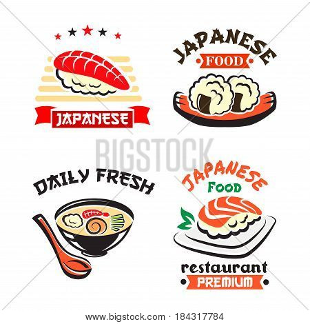 Japanese food isolated symbol set. Sushi, seafood rice and noodle soup dishes with fish, shrimp and vegetable, supplemented by ribbon banner. Japanese cuisine seafood restaurant and sushi bar design
