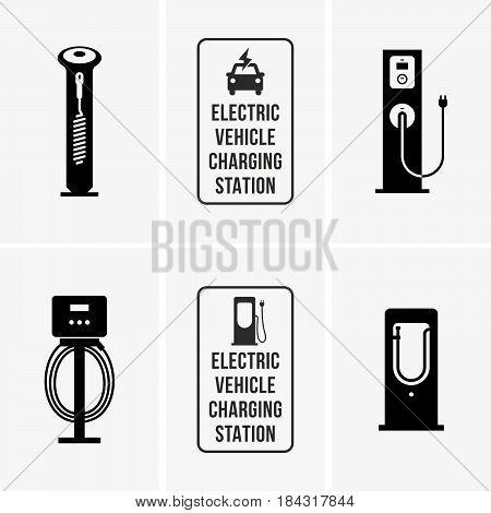 Set of electric car charging station symbols