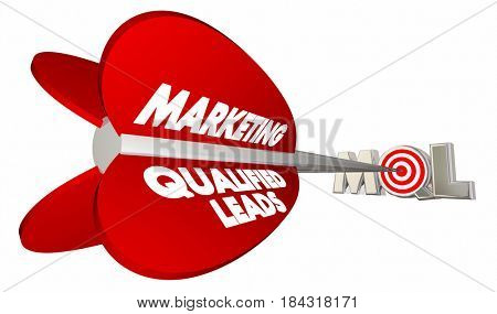 MQL Marketing Qualified Sales Leads Bow Arrow Target 3d Illustration