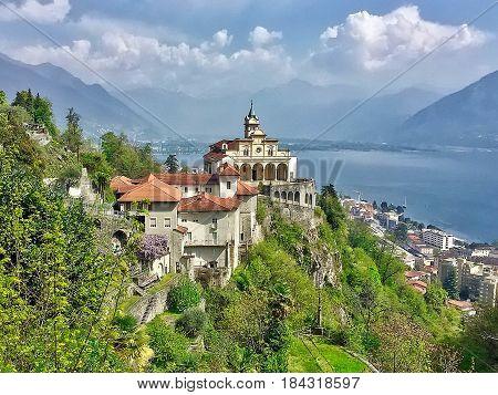 Locarno, Switzerland, 2017.04.10: The church Madonna del Sasso above Locarno in Switzerland.