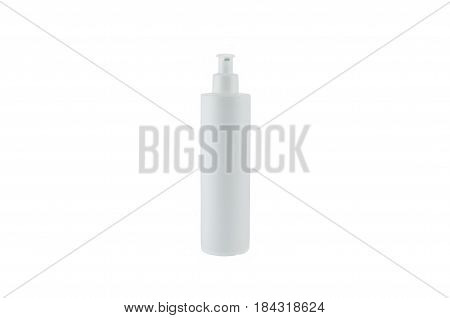 white small bottle with the piston on a white background the front view