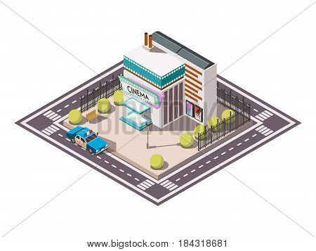 Rescue service isometric set with police car near cinema 3d vector illustration