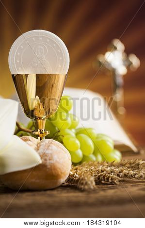Eucharist sacrament of communion background.Holy bread and wine.