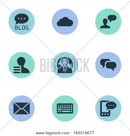 Vector Illustration Set Of Simple Newspaper Icons. Elements International Businessman, Site, Post And Other Synonyms Sky, Forum And Blog.