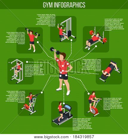 Colored gym infographics and types of exercises with influence of different muscle groups vector illustration