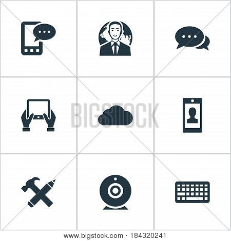Vector Illustration Set Of Simple User Icons. Elements Broadcast, Repair, Notepad And Other Synonyms E-Letter, Broadcast And Negotiation.