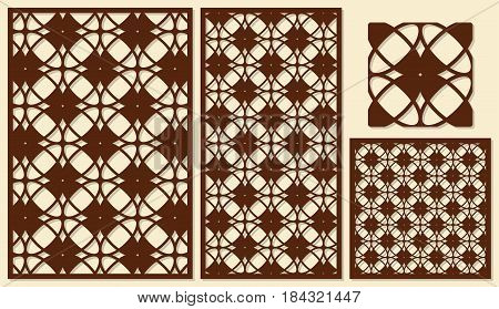 Set of decorative panels laser cutting. Classical geometric pattern. The ratio of 2: 3, 1: 2, 1: 1, seamless. Vector illustration.