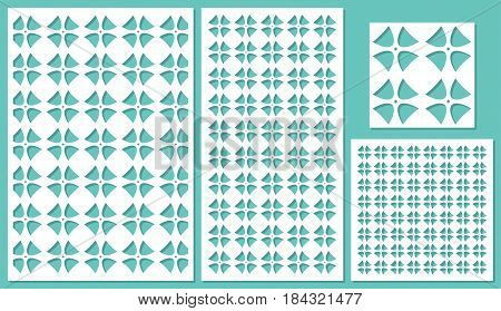 Set of decorative panels laser cutting. Square geometric pattern. The ratio of 2: 3, 1: 2, 1: 1, seamless. Vector illustration.