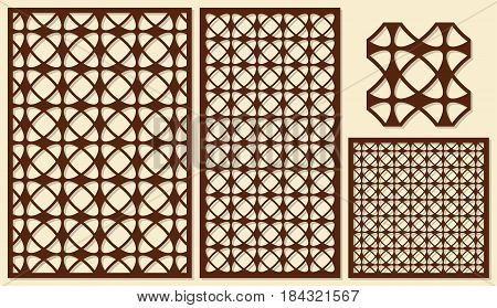 Set of decorative panels laser cutting. Classic universal geometric pattern. The ratio of 2: 3, 1: 2, 1: 1, seamless. Vector illustration.