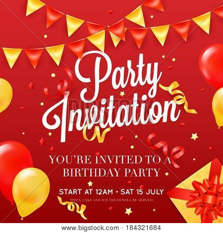 Birthday party invitation card poster template with ceiling balloon decorations and presents red festive background poster vector illustration