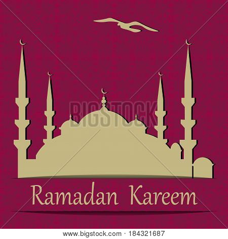 Ramadan Kareem. A blue mosque cut from paper. Background in the style of oriental ornament. Vector illustration