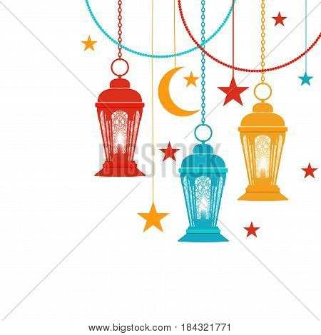 Ramadan Kareem. Trans-colored lanterns in oriental style hang on chains, asterisks, a crescent moon. Isolated on white background. Vector illustration