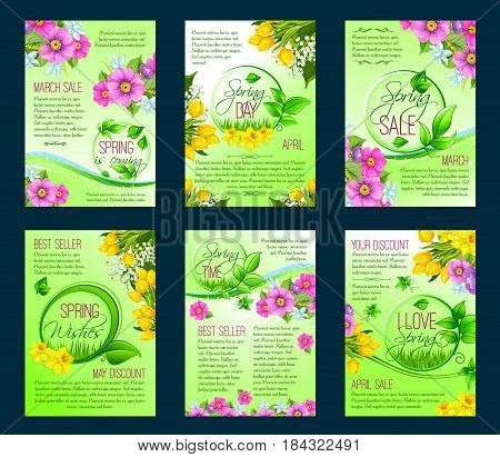 Spring season sale poster template. Spring flower discount flyer with floral bunch of tulip, narcissus, lily and crocus, green leaf and grass frame for special offer banner and brochure design