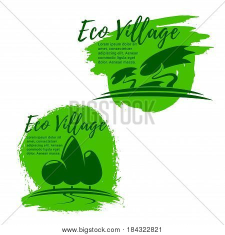 Eco village, green living and ecology icon set. Green tree and plant isolated symbol for eco sustainable real estate agency emblem, environment protection and eco friendly lifestyle design
