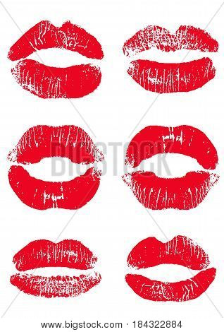 Print of red lips. Vector illustration on a white background. EPS 10