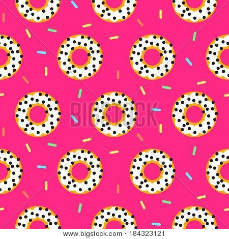 Doughnut white on pink sweet seamless vector pattern donuts with coconut chips.