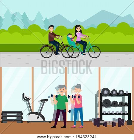 Flat active recreation horizontal banners with happy family riding bicycles and old people in gym vector illustration