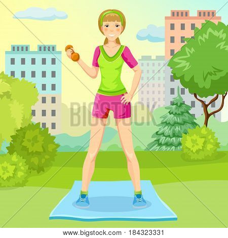 Cartoon sport lifestyle concept with slim girl standing on mat and holding dumbbell in city park vector illustration