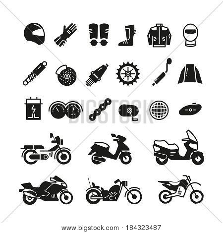 Racing motorcycle, motorbike parts and transportation vector icons. Black silhouette motorcycle, illustration of parts for motorcycle