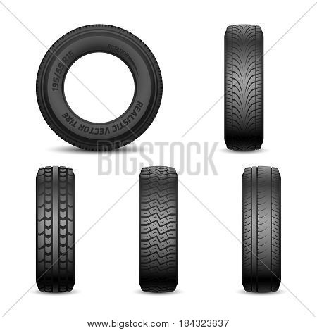 Realistic vector tires with different tread marks Auto black rubber tyre, illustration of car tyre for wheel