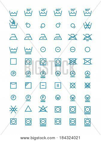 Washing and wringing, drying and ironing vector symbols for clothes labels. Garment care line icons. Instruction washing for clothes illustration