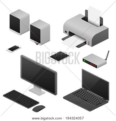 Digital workstation isometric vector computers, supplies of office workspace. Router and tablet isometric, equipment for workplace office isometric illustration