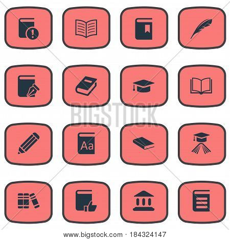 Vector Illustration Set Of Simple Knowledge Icons. Elements Notebook, Library, Graduation Hat And Other Synonyms Literature, Dictionary And Favored.