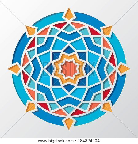 Contemporary arabic geometric round vector pattern for wallpaper. Oriental mosaic round frame, illustration of emblem frame mosaic