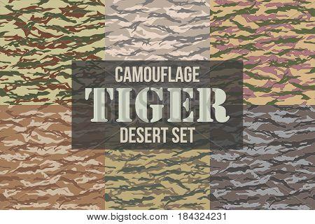 Tiger stripe Desert Camouflage seamless patterns. Vector Illustration.