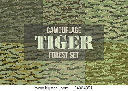 Tiger stripe Forest Camouflage seamless patterns. Vector Illustration.
