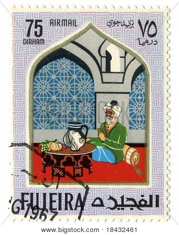 Fujeria circa 1967. A stamp printed in Fujeira shows image of the man.