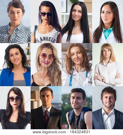 Collection of different many happy smiling young people faces caucasian women and men. Concept business, avatar