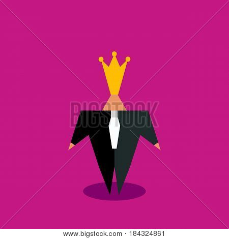 Cartoon character businessman in crown isolated. Top manager with big ego. Vector illustration.