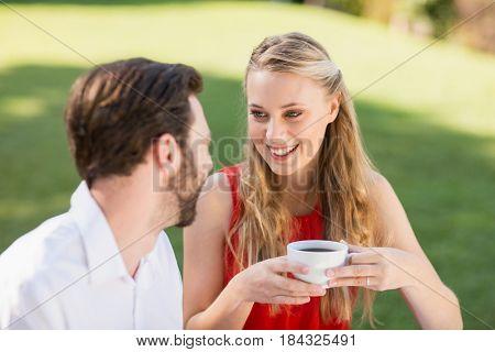 Happy couple having coffee in the restaurant