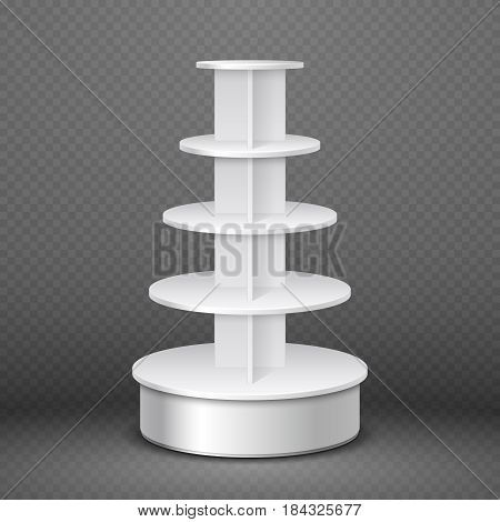White blank products display, supermarket stand with round shelves vector template. Market stand commercial, illustration of supermarket shelf for product