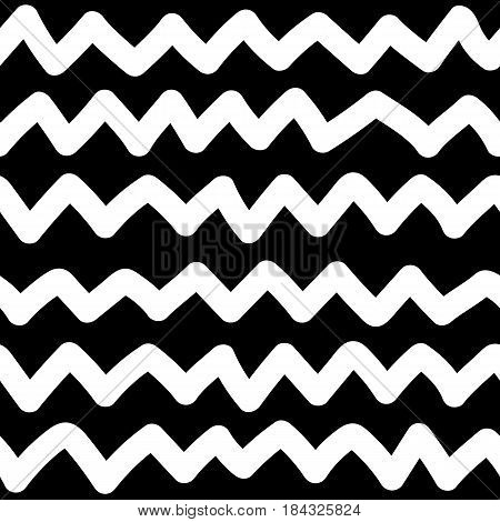 Kids hand drawn scribbled zigzag seamless pattern. Baby scribbles. Black and white ornament chevron. Vector illustration.