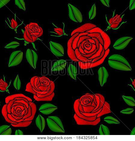 Embroidered red rose flowers vector vintage seamless floral pattern for fashion design. Embroidery with red flower, fashion flower rose pattern illustration