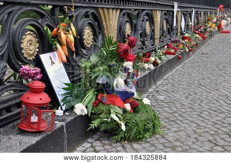 Berlin, Germany - April 12, 2017: Flowers near the Russian embassy in Berlin in memory of the victims of the terrorist attack in St. Petersburg metro.
