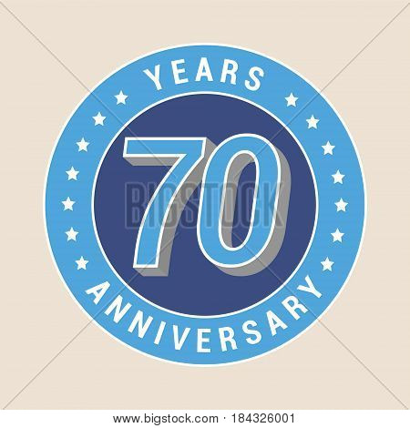 70 years anniversary vector icon emblem. Design element with blue color medal as a banner for 70th anniversary