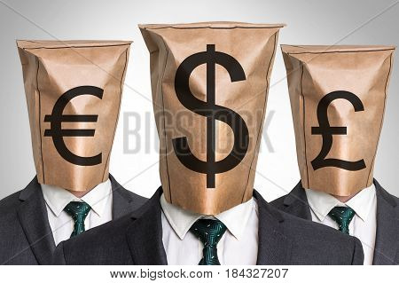 Three Business Mans With A Paper Bag On The Head