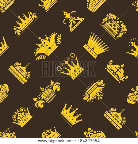 Crown king vintage premium golden yellow badge heraldic ornament icon tiara logo and luxury emblem kingdom princess baroque vector illustration. Insignia seamless pattern