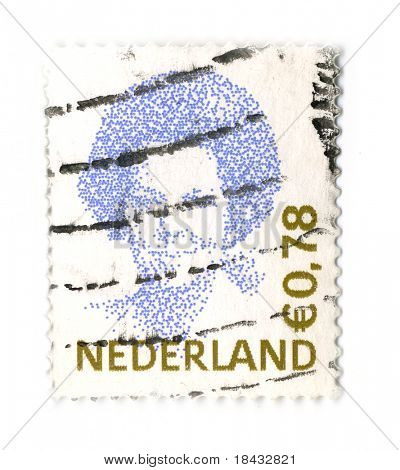 NETHERLANDS - CIRCA 1991: An NETHERLANDS Used  Postage Stamp showing Portrait of Queen Beatrix of the Netherlands,Type