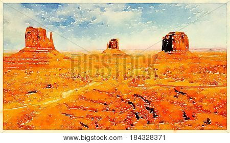 Digital watercolor of a butte in Monument Valley, Utah, USA