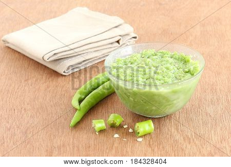 Indian vegetarian food green chili paste, which is used as an ingredient in many of the Indian dishes.