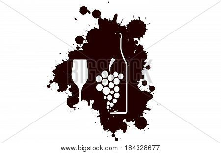 Spill the Wine..Red wine drops.A bunch of grapes.Bottle of alcohol illustration.Design for wine.Glasses to alcohol.Alcohol vector background.