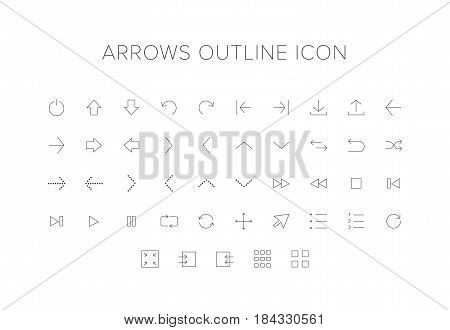 Arrows Line Icon Set. Outline Icon set