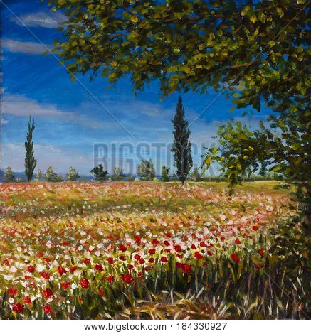 Original oil painting on canvas. Beautiful French landscape rural landscape Field of red poppies landscape. Modern impressionism painting.